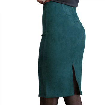 Solid Suede Color Pencil Skirt 26