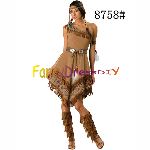 2015 Lady Fancy Dress Costumes Wild West Pocahontas Indian costume Savage Cosplay Costume African tribes Costume  sc 1 st  AliExpress.com & 2015 Lady Fancy Dress Costumes Wild West Pocahontas Indian costume ...