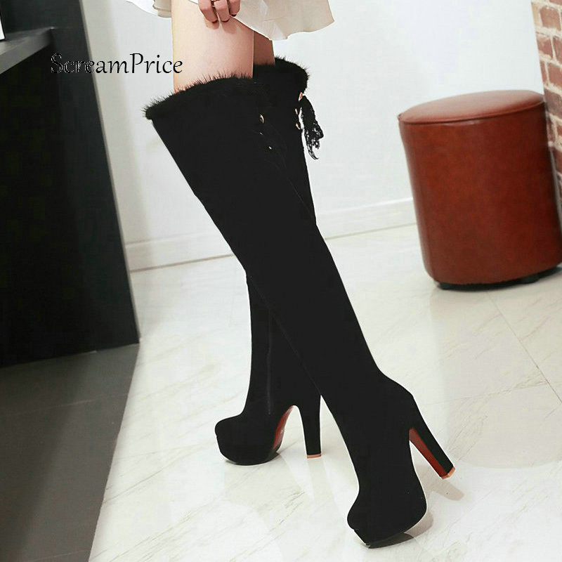 Woman Platform Square High Heel Side Zipper Flock Over The Knee Boots Fashion Lace Up Ladies Thigh Boots Black Red women fashion boots chunky high heel over the knee boots side zipper platform thigh boots black white
