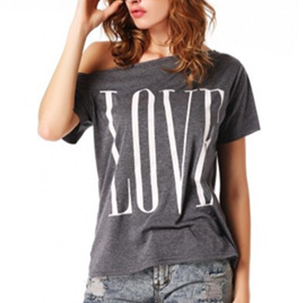 <font><b>Fashion</b></font> Summer <font><b>Sexy</b></font> t shirt <font><b>Women</b></font> Tops <font><b>Short</b></font> <font><b>Sleeve</b></font> Slash Neck <font><b>Off</b></font> <font><b>Shoulder</b></font> Letter Printed Causal t-shirt image