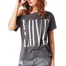 Fashion Summer Sexy t shirt Women Tops Short Sleeve Slash Neck Off Shoulder Letter Printed Causal t-shirt цена