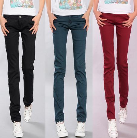 Calças de verão feminino Coreano fina doces coloridos calças lápis esticar calças Slim calça casual elegante