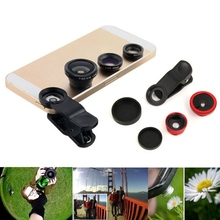 Universal 3 in1 Glass Fisheye Fish Eye Lens Wide Angle Macro Mobile Phone Clip On Camera Lens Kit For iPhone ipad Smart Phone