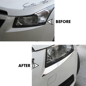 Image 4 - Voor Chevrolet CRUZE 2009 2010 2011 2012 2013 2014 Koplamp Cover Trim Chrome Head Lamp Wenkbrauw Stickers Auto Styling Accessoires
