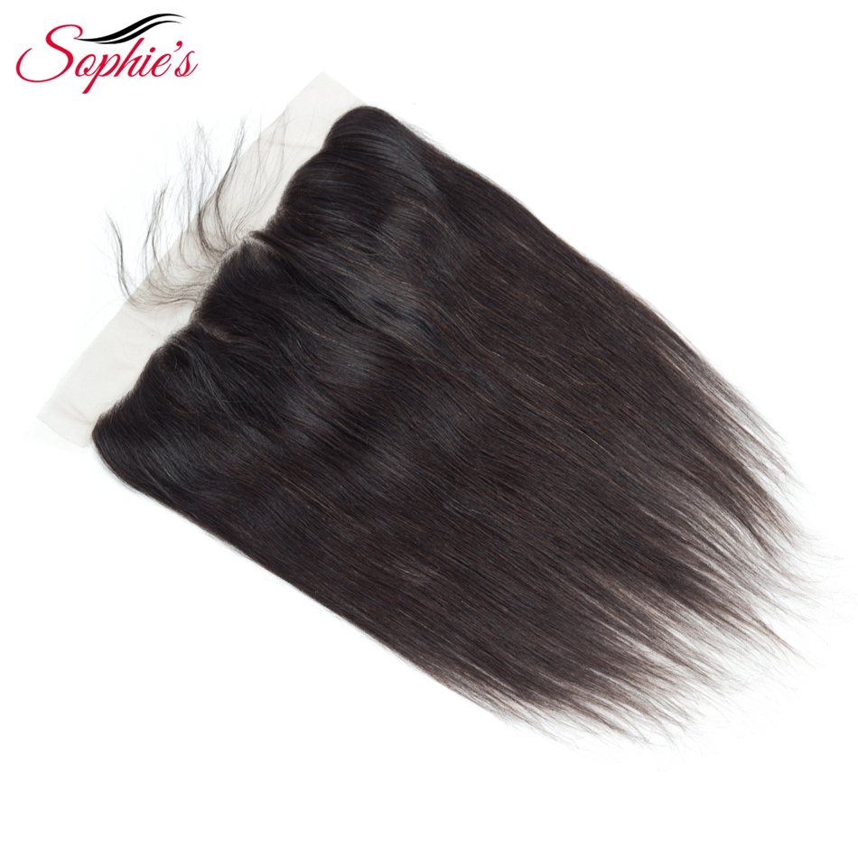 Sophies Lace Closure Brazilian Hair 13*4 Lace Frontal Straight Human Hair Closure With Baby Hair Non-Remy Natural Color Hair