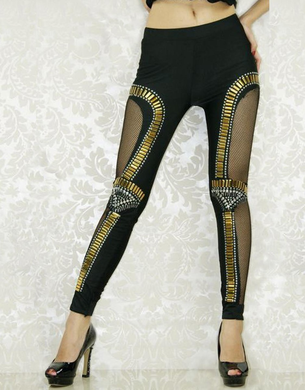Hollow Out Bukser Ny eventyr Time Leggings Bro Ball Legging Gold Punk Sexet pige Hot Leggings WL7971