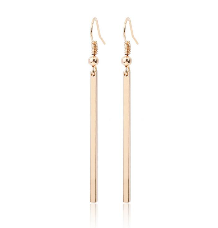 Gold Color Fashion Brief Bar Dangle Earrings For Women Drop Ship Ok Alloy Nickel Free Wj304
