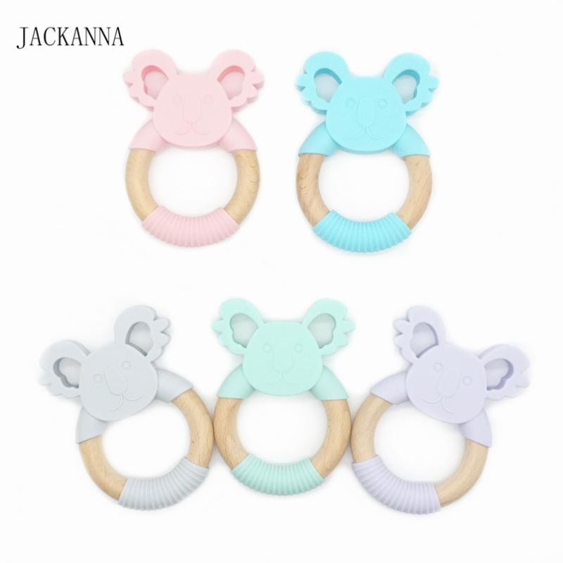 Koala Silicone Teether Natural Wooden Ring Nursing Accessories Chewable Rattle Newborn Shower Gifts Baby Teethers 10PCS