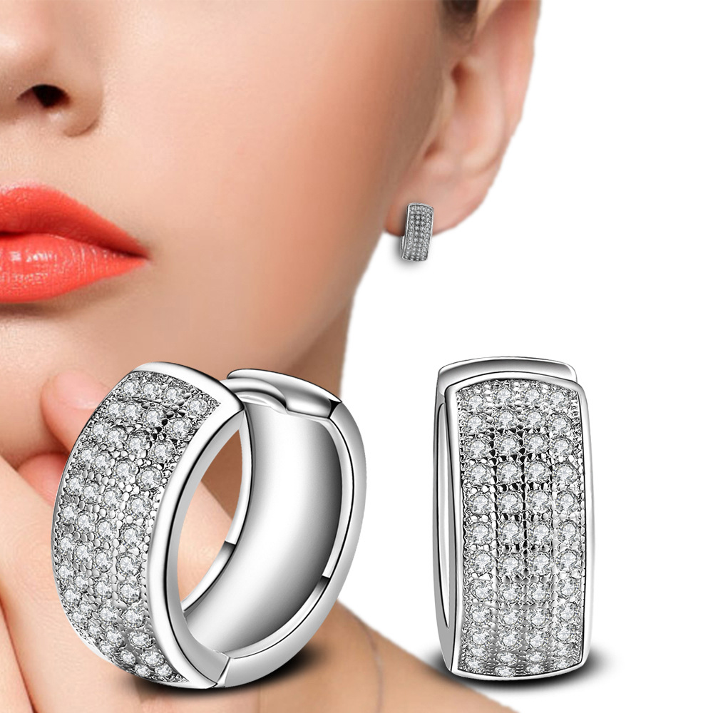 Double Star Cz Earrings For Women Jewelry Pendiente Plata 925 Sterling Silver H Earring Boucle D'oreille Brincos
