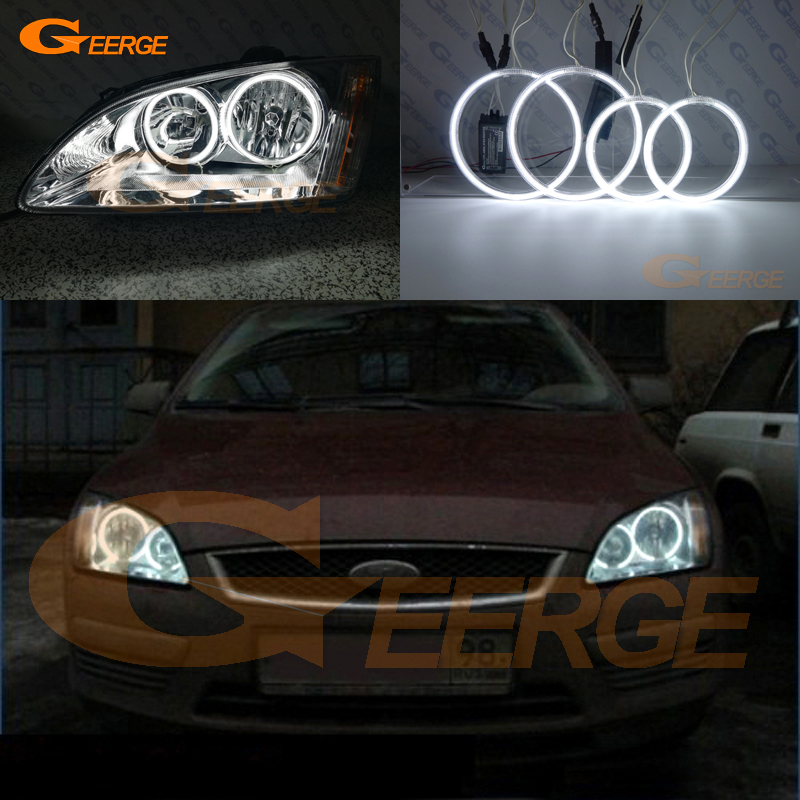 For Ford Focus II Mk2 2004 2005 2006 2007 2008 Europe headlight Excellent Ultra bright illumination CCFL Angel Eyes kit new for ford focus ii da