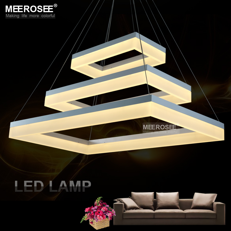 Us 126 65 39 Off Contemporary Led Pendent Lamp White Acrylic Rectangle Suspension Light For Dining Room Modern New Design Fixture In