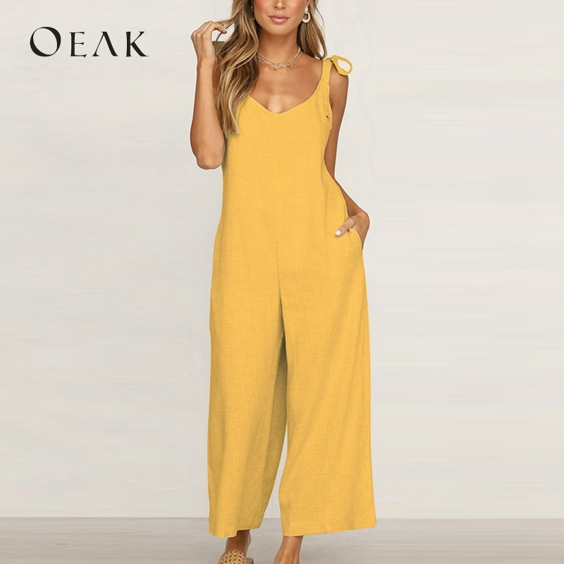 OEAK Women Casual Loose Long   Jumpsuits   Solid Striped Wide Leg   Jumpsuit   Tie Up Backless Vacation macacao feminino