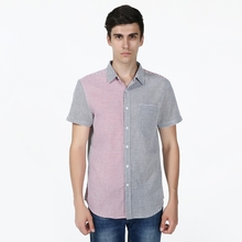 New Slim Fit Striped Stitching Color Casual Shirt Men's Social Dress Shirt Short Sleeve Turn Down Collar Standard US Size