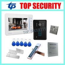 7″ TFT color screen RFID video door phone video door bell kit include power supply+EM lock+ZL bracket+metal exit button