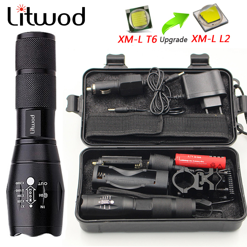 Z50 CREE XM-L T6 led tactical flashlight 5000Lm zoomable torch for Hunting light+battery+Remote Switch+Charger+Gun Mount rechargeable 2000lm tactical cree xm l t6 led flashlight 5 modes 2 18650 battery dc car charger power adapter