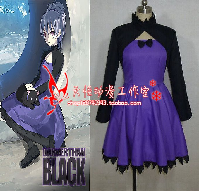 Darker than BLACK Yin cosplay costume black top+dress any size