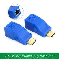 30 m hdmi extender verici tx/rx hdmi v1.4 hd 1080 p cat6 rj45 ethernet kablosu üzerinde 2017 yeni tv projektör için dvd