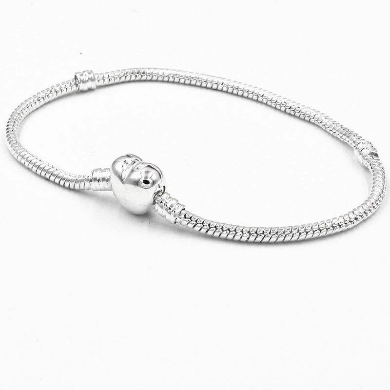 20PCS Fashion good silver heart clasp letter print design 3MM wide roll snake chain fit for