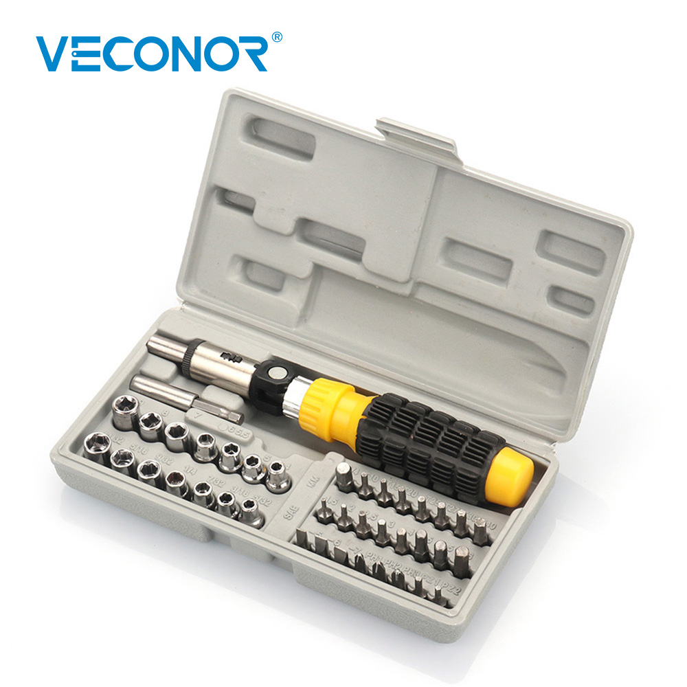 Veconor 41pcs Household Screwdriver Bits and Socket Set DIY Tool Kit Universal Multi-Function Home Use Repair Hand Tools