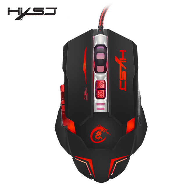 US $11 18 31% OFF|HXSJ H600 Professional USB Wired Quick Moving LED Light  Gaming Mouse Game Peripherals with 7 Buttons Coding Mice-in Mice from