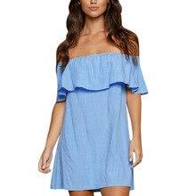 2017 Brand Off Shoulder Sexy Dress Women Straight Casual Dresses Fashion Blue Mini Short Sleeve Dress Loose Ruffle Sleeve Dress
