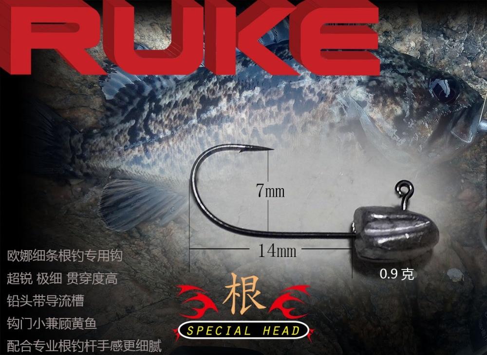 2016 RUKE Νέος ιδιοκτήτης Αλιευτικό γάντζο, 0,9 g και 1,3 g λεπτό ειδικό άγκιστρο, Sharp Jig Head, το κεφάλι Jig με αγωγό αποστράγγισης, δωρεάν αποστολή