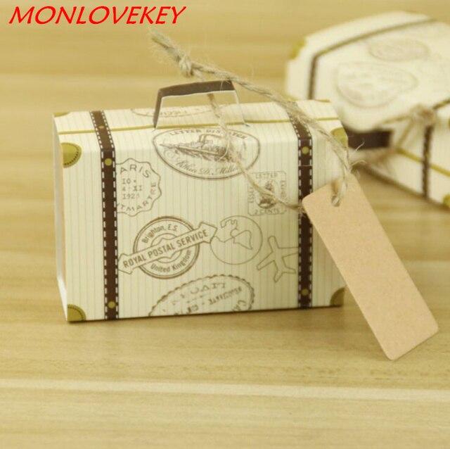 10pcs Wedding Favor Chocolate Boxes Vintage Mini Suitcase Candy ...