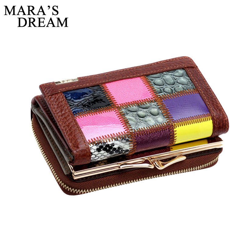 Mara's Dream 2018 Fashion Women Wallets Genuine Leather Patchwork Hasp Coin Purse Female Clutch Bag Short Lady Card Holders fashion wallet women simple short wallets hasp coin purse credit card holders handbag carteira feminina portefeuille femme