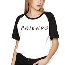Drop shipping New Friends Tv Shirt Women Funny Streewear Tshirt Show funny Graphic tee female summer tops
