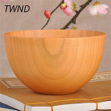 Soild wood bowls Japan style food containers dinner vintage salad rice noodles bowl Japan style handmade healthy tableware