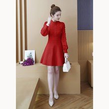 Autumn Winter Women Knit Sweater Dress Elegant Lantern Sleeve Sweater Dress Vintage Lace Patchwork A-Line Mini Dress lantern sleeve drop shoulder sweater dress