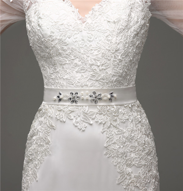 Floor-Length V-Neck Lace Chiffon Full Sleeves Wedding Dress 6