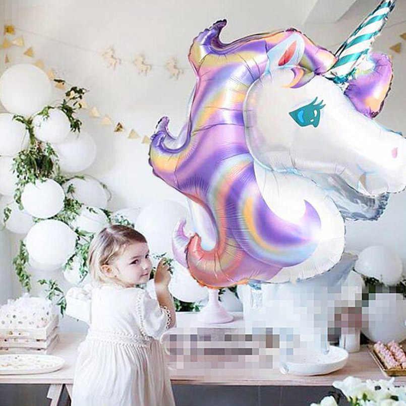 MMQWEC 1 sztuk 100*97CM różowy koń kucyk foliowe balony jednorożec wszystkiego najlepszego z okazji urodzin impreza jednorożec balony z helem dla dzieci zabawki zwierzątka Globos