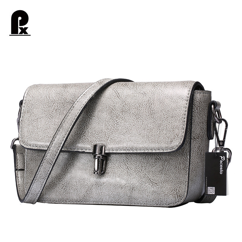 Pacento 2017 Genuine leather Simple Casual Fashion Female Women Messenger Bag Gray Shoulder Bags Small Square Package Women Bag 100% genuine leather women shoulder bags simple fashion real skin cowhide simple messenger bags leisure female messenger bag