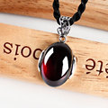 925 sterling-silver-jewelry vintage green yellow chalcedony round charms red garnet ruby pendants necklaces for females