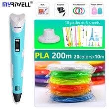 Myriwell 3d Ручка дисплей ручка с бесплатной pla мм 1,75 мм нити М и 200 м pla/ABS ребенок подарки на день рождения, подарок на Новый год, рождественский подарок