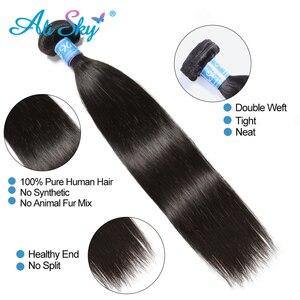 Image 3 - Бразильские пряди волос AliSky с фронтальным переплетением 13x4, прямые пряди волос с застежкой, человеческие волосы Remy
