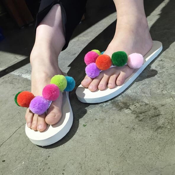 2017 High Quality Girl Summer Flip Flops Shoes Flower Sandals Female Slipper Beach Flip-flops  Free shipping