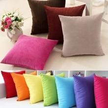 Funda de almohada colorida, funda de almohada sólida Vintage, cojín