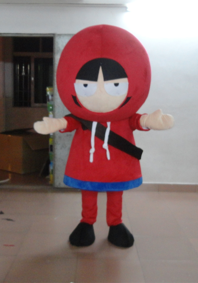 High quality Beautiful Red Little Girl Mascot Costume With Red Cute Hat Short Black Hair Holiday special clothing