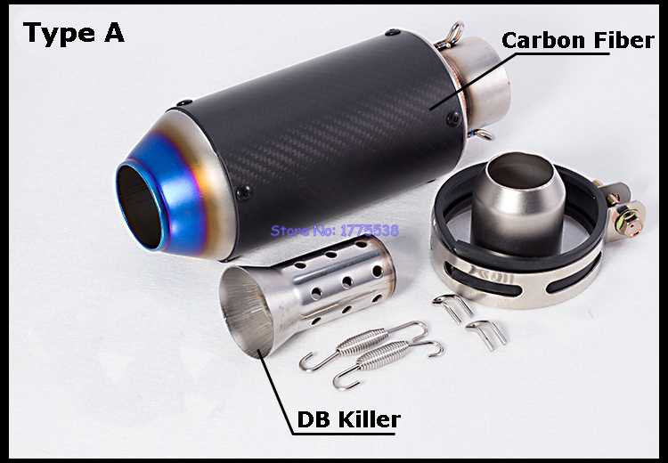 Universal 51mm Inlet Motorcycle Exhaust Muffler Pipe Carbon Fiber Motorbike Exhaust Pipe Mufflers Escape with DB Killer