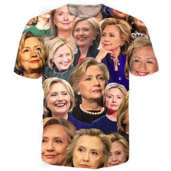 Hillary Clinton Collage Tee 3d tops tees Hip Hop t shirt women men Fashion Short Sleeve Hipster Top Tee for Unisex