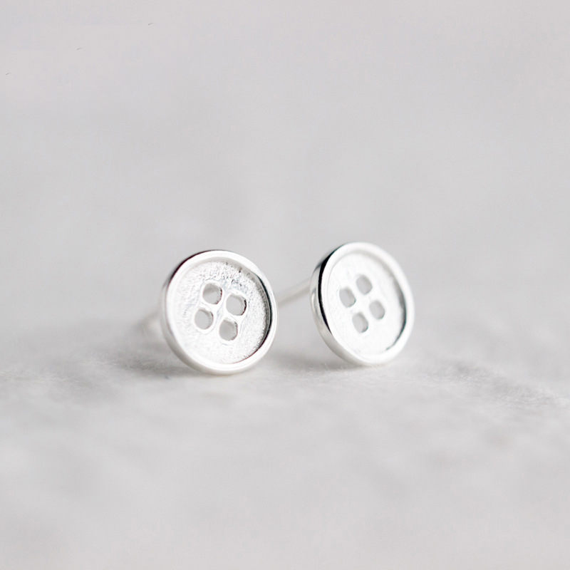 Fashion Pure Silver Color  Round Button Stud Earrings Jewelry For Women Pendientes Brincos Fashion Jewelry