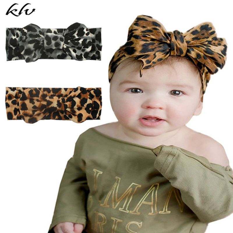 New Hot Printing Stretch Cloth Leopard Bow Knot Children Headband Baby Hair Band Headwear