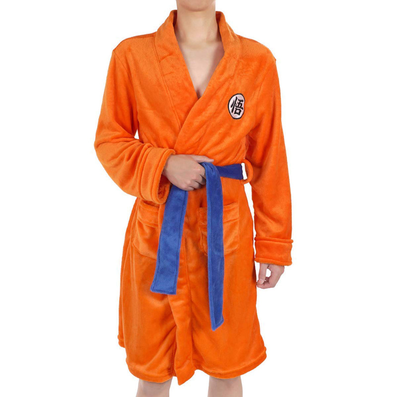 Anime Dragon Ball Cosplay Costumes Son Goku Women Men Flannel Pajamas Robes Daily Casual Bathrobe Warm Winter Thicken Jumpsuits
