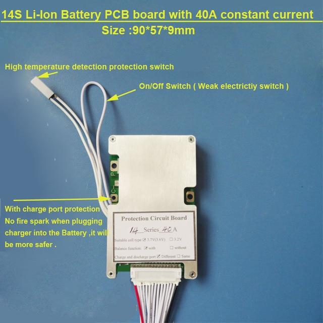 58.8 V 14 S batteria Al Litio PCB board con 40A corrente Costante per scooter elettrico Agli ioni di litio o Lipo 48 V BMS Batteria con interruttore