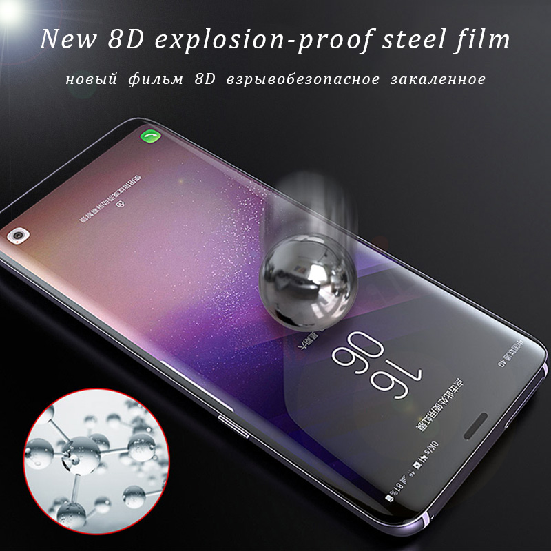8D Curved Tempered Glass For Samsung Galaxy S8 S9 A6 A8 Plus 2018 New 9D Screen Protector For Galaxy A7 2018 Note 8 S7 Edge Film in Phone Screen Protectors from Cellphones Telecommunications