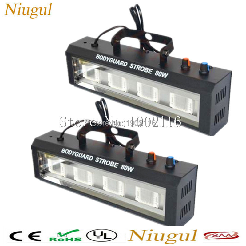 2pcs/lot 80W LED Strobe light Stage Lighting club Disco Party DJ Home party Show Projector 80W led flash Lights dj Equipments niugul dmx stage light mini 10w led spot moving head light led patterns lamp dj disco lighting 10w led gobo lights chandelier