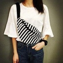 Einfache gestreiften brust tasche mode leinwand taille packs kissen lässig unisex-tasche kreative schwarz-weiß gestreiften coole reisetasche