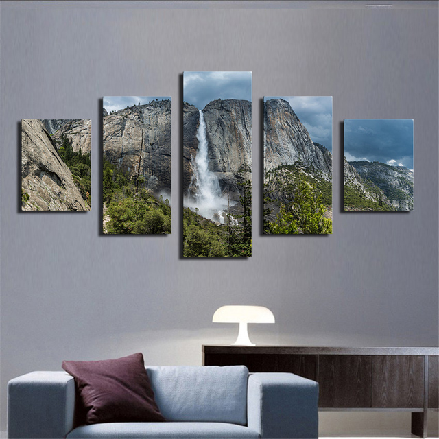 5 Piece Yosemite Forest Le Waterfall Modern Home Wall Decor Oil Painting Print On Canvas